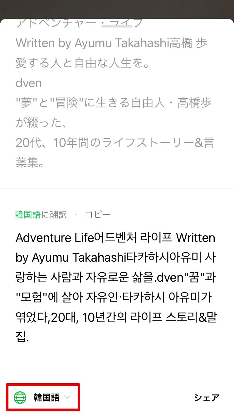 韓国語への翻訳を選んだ場合